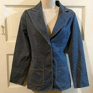 Queen Casuals Long Sleeve Blue Chambray Blazer S
